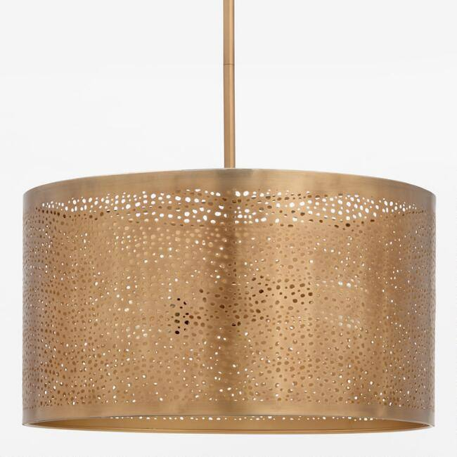 Pierced Brass Adjustable Drum Pendant Lamp