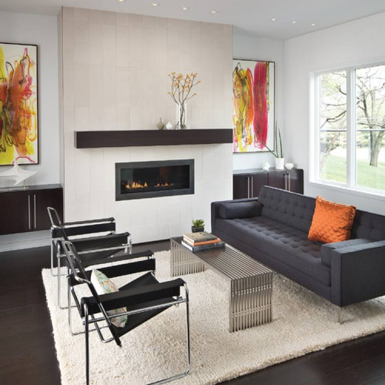 Modern sleek Living room with fireplace by Adam Gibson Design
