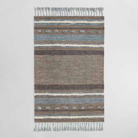 Brown and Blue Kilim Omar Indoor Outdoor Rug