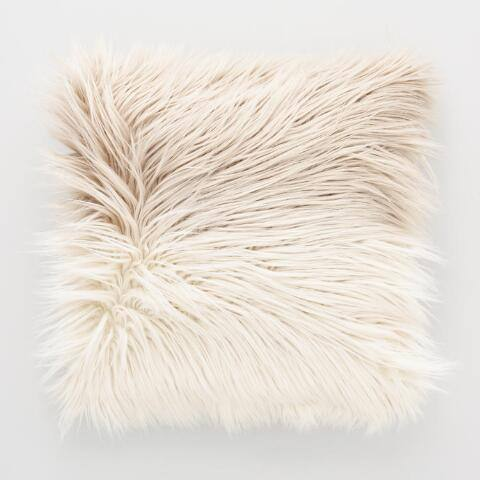 Mocha Ombre Mongolian Faux Fur Throw Pillow