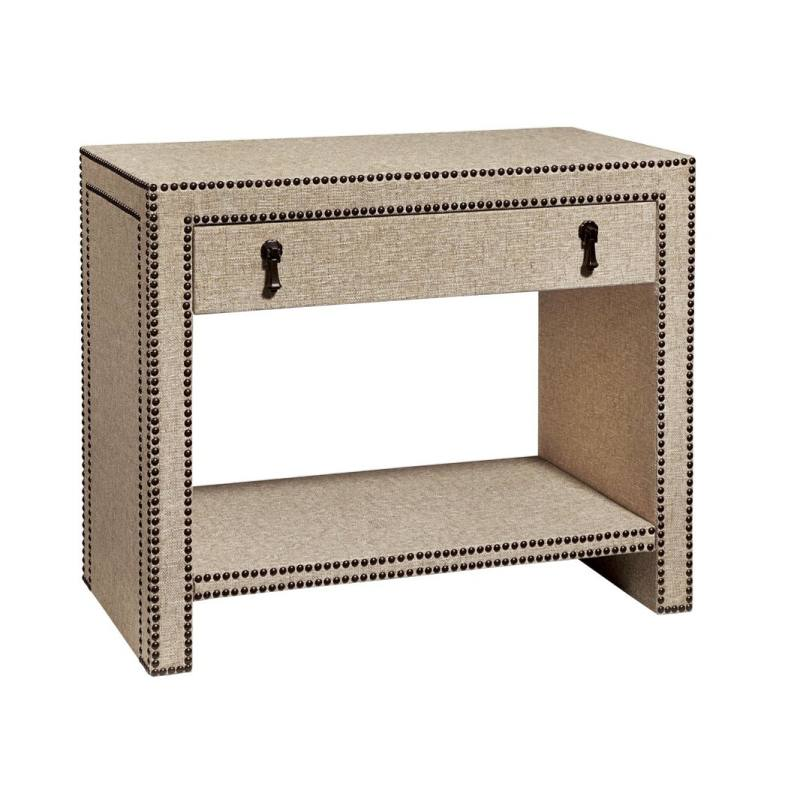 Cachet Nailhead and Linen Nightstand