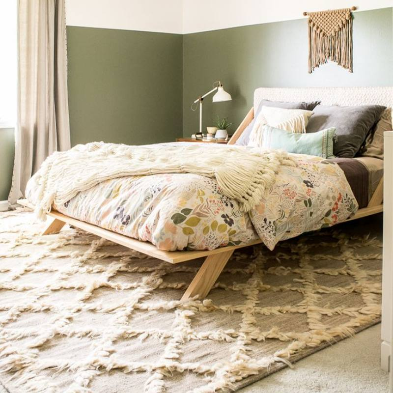 Romantic neutral and green boho bedroom idea