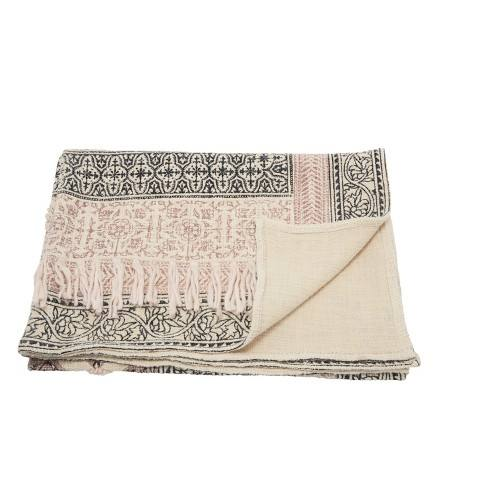 "60""x50"" Bohemian Embellished Stonewash Throw Blanket Natural - Mina Victory"