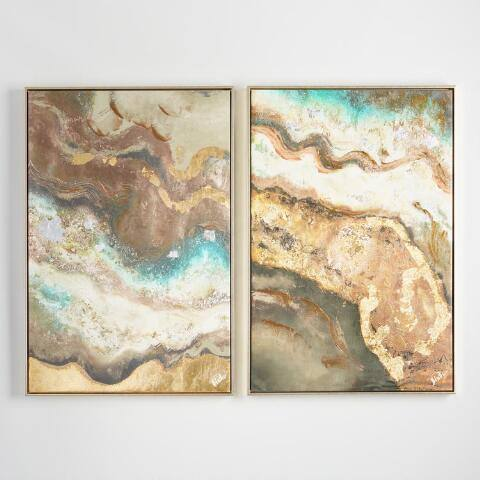 Tea Lava Diptych by Patricia Pinto with Gold Frames Set of 2
