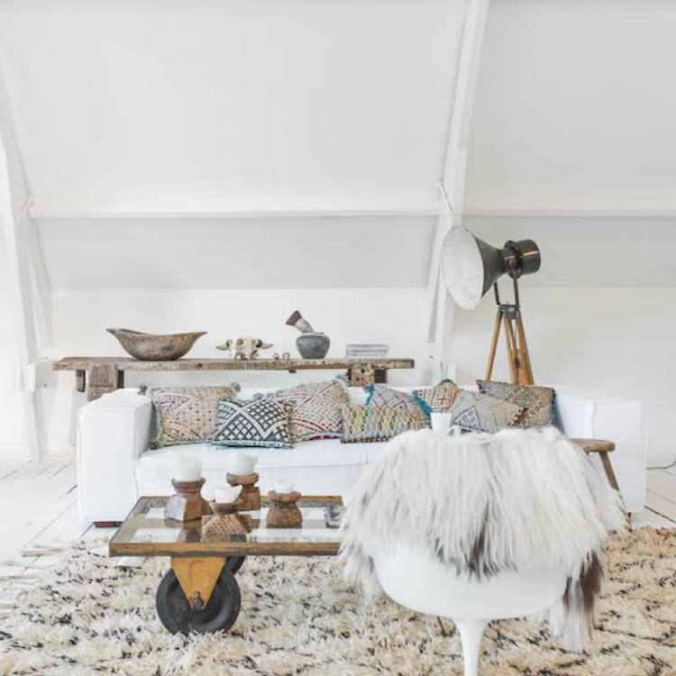 Scandi style bohemian all white living room inspiration