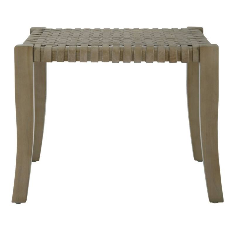 Sasha Leather Woven Accent Stool