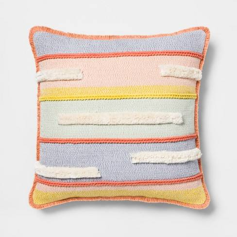 Textured Stripe Square Throw Pillow - Opalhouse�
