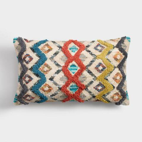 Oversized Zigzag Shag Lumbar Pillow