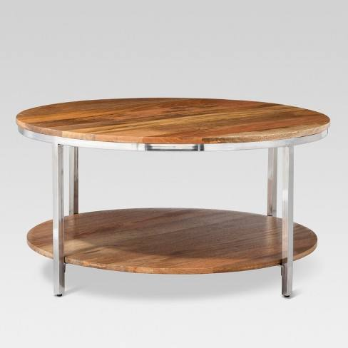 Berwyn Round Coffee Table Metal and Clear Wood - Threshold�