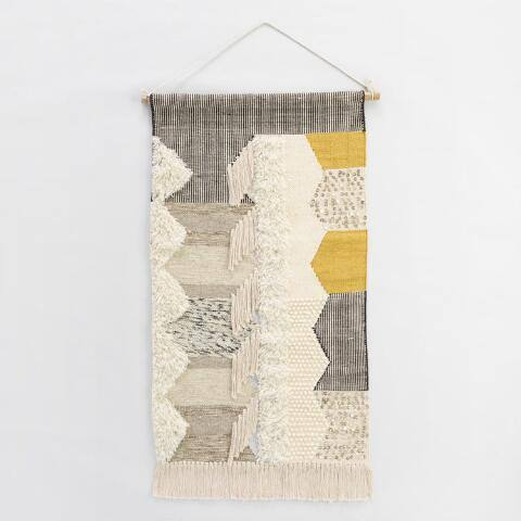 Gray and White Woven Wall Hanging