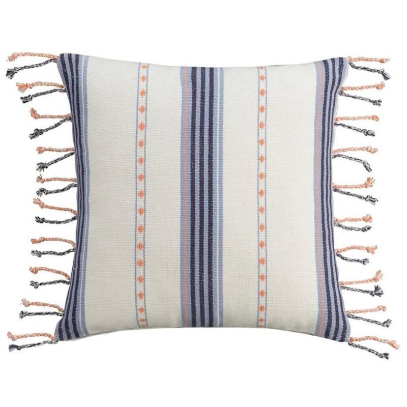 Cupcakes and Cashmere Indigo Stripe Woven Pillow