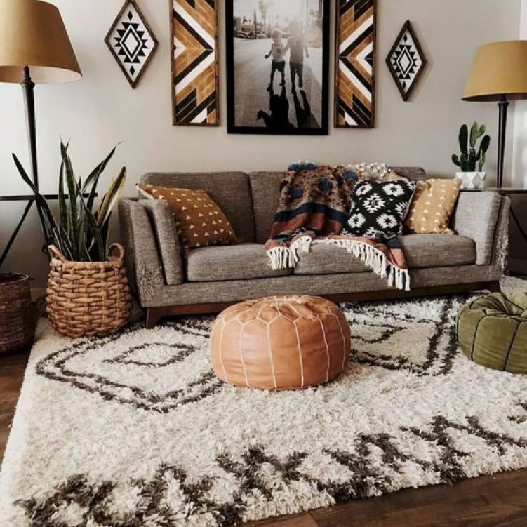Vintage warm neutral Bohemian living room design
