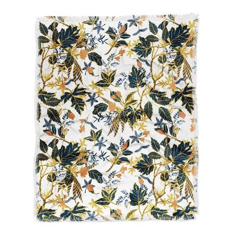 "60""X50"" Marta Barragan Camarasa Autumnal Nature I Throw Blanket Yellow - Deny Designs"