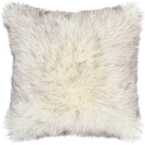 Tip Dyed Faux Fur Oversize Square Throw Pillow Gray - Mina Victory