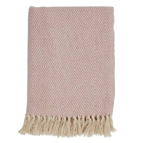 "50""x60"" Soft Cotton Diamond Weave Throw Blanket - Saro Lifestyle"