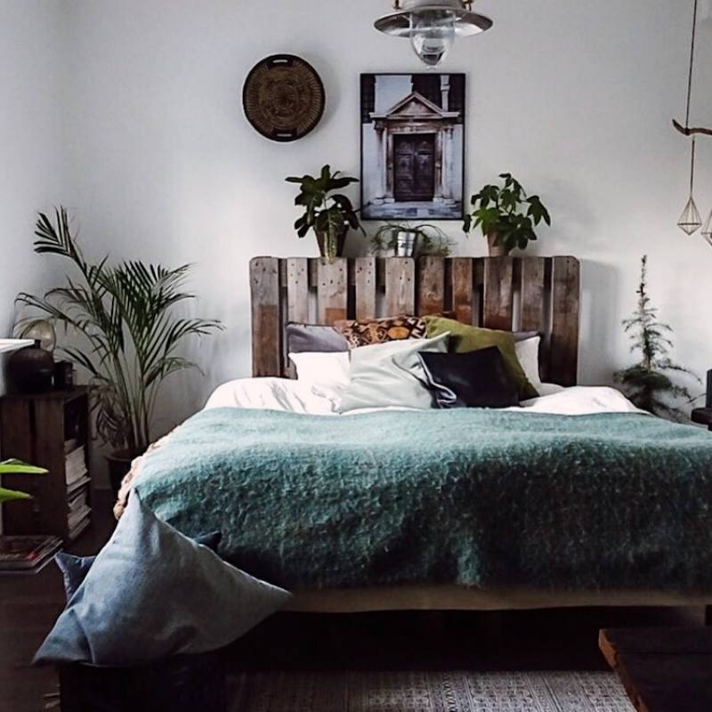 Eclectic bohemian bedroom with DIY headboard